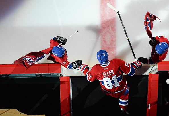Canadiens kaupittelee Lars Elleriä.