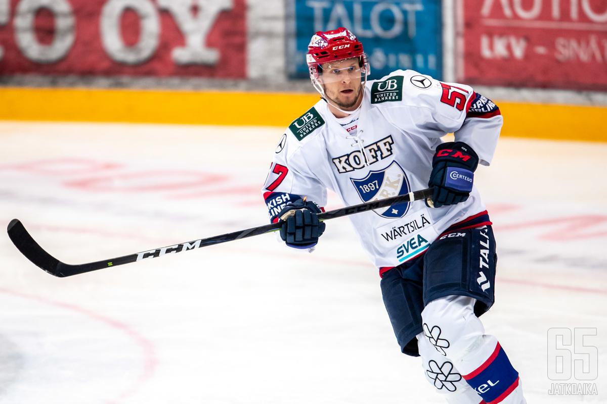 Johan Motin joutuu toviksi sivuun HIFK:n takalinjoilta.