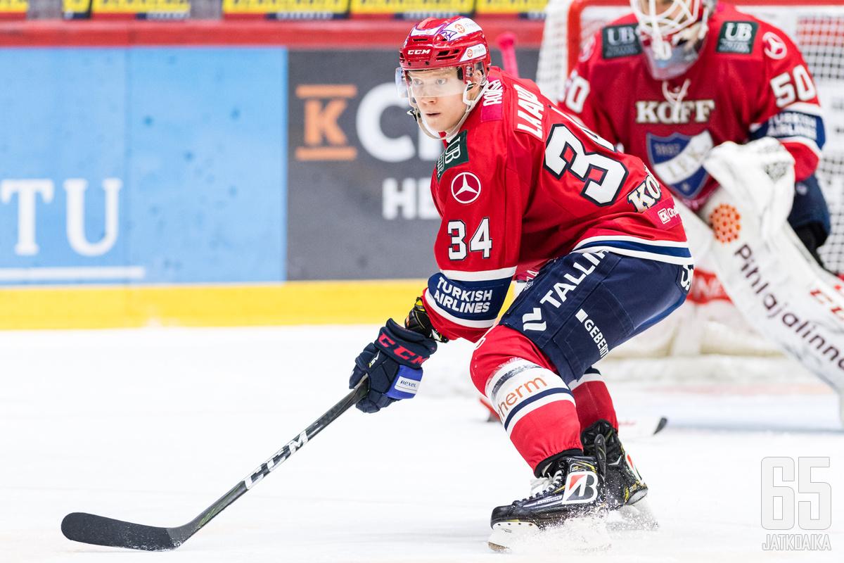 HIFK:n Aleksi Laakso (34) Liigan runkosarjaottelussa HIFK - Ilves, Helsingin jäähallissa, 5. joulukuuta 2019