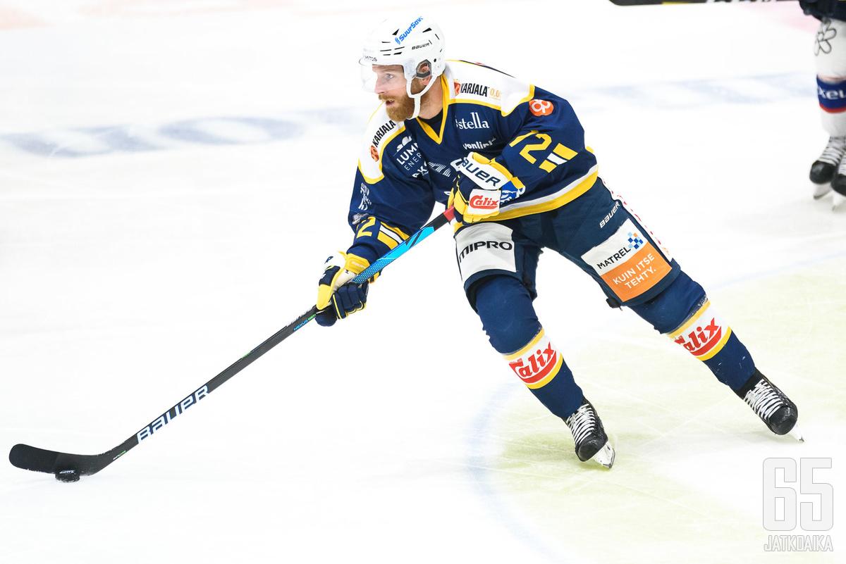Joachim Rohdin oli pelipäällä iskemällä kaksi maalia HPK:n verkkoon.