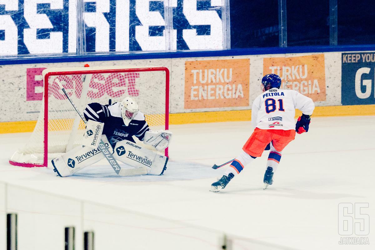 Jukka Peltola nähdään alkavalla liigakaudella maalintekotilanteissa useastikin.