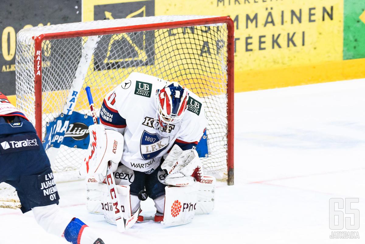 HIFK:n maalivahti Niilo Halonen oli ohittamaton Mikkelin tiistai-illassa.