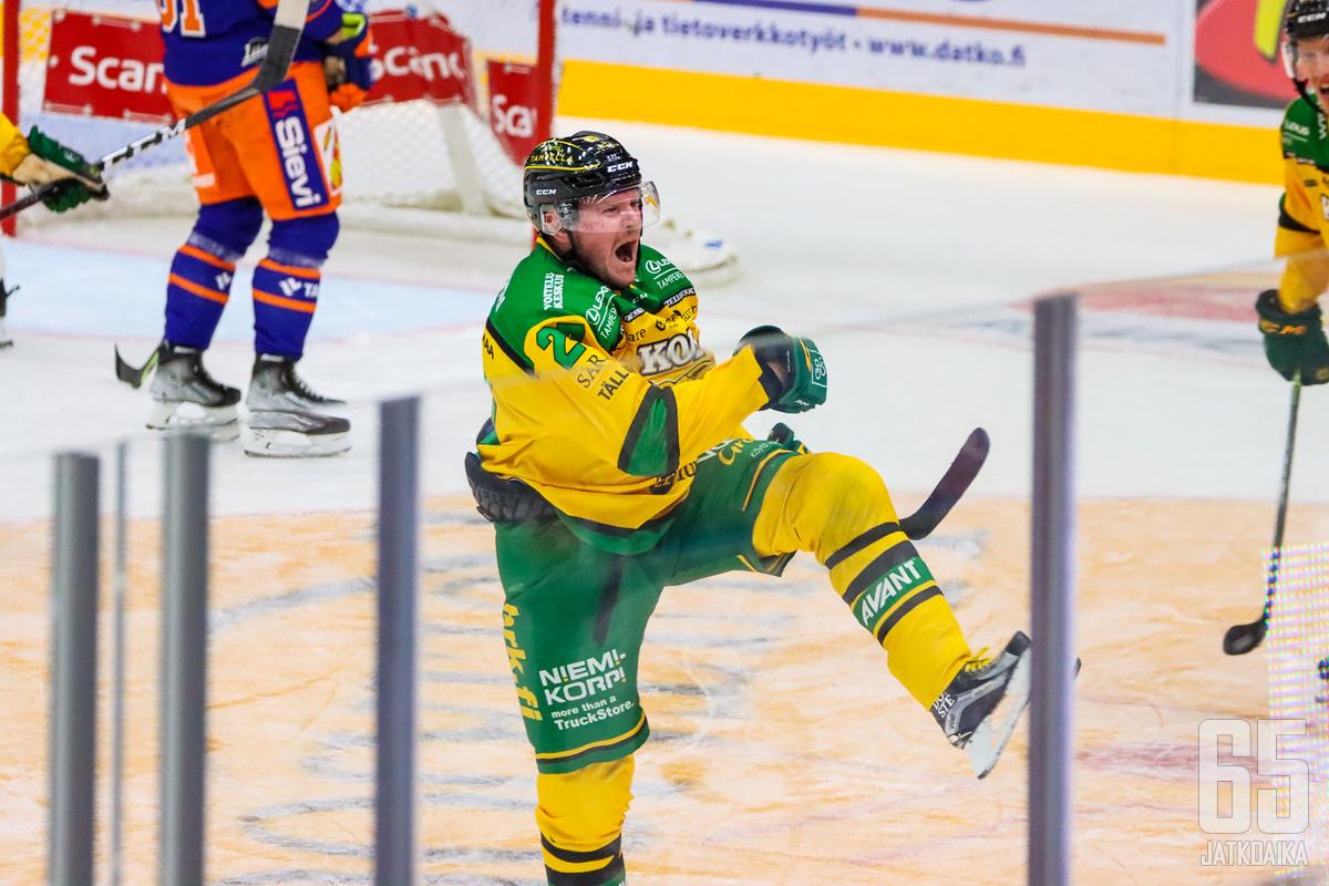 Petri Kontiola iski ensimmäisen Ilves-maalinsa ja oli joukkueensa kantavia voimia.