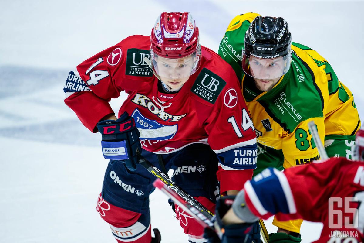 Kokenut Jasse Ikonen (oik.) on pelannut Liigassa muun muassa HIFK:n ja Ilveksen riveissä.