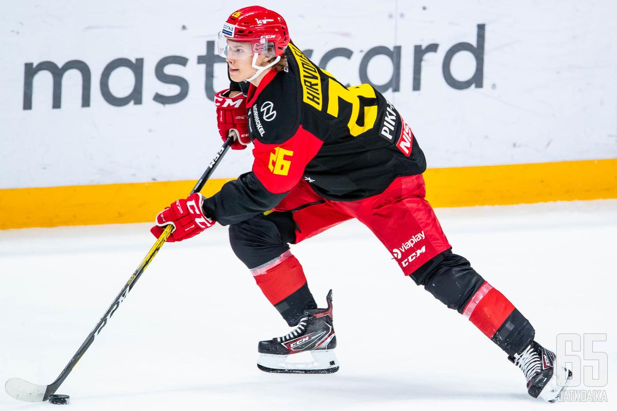 Hirvonen on pukenut tällä kaudella kahteen KHL-otteluun Jokereiden pelipaidan.