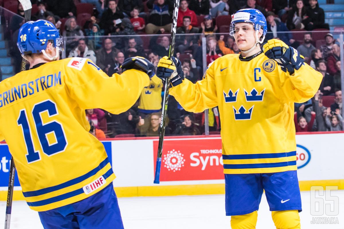 Ruotsin kapteeni Joel Eriksson Ek oli hyökkääjien eliittiä alkulohkossa.