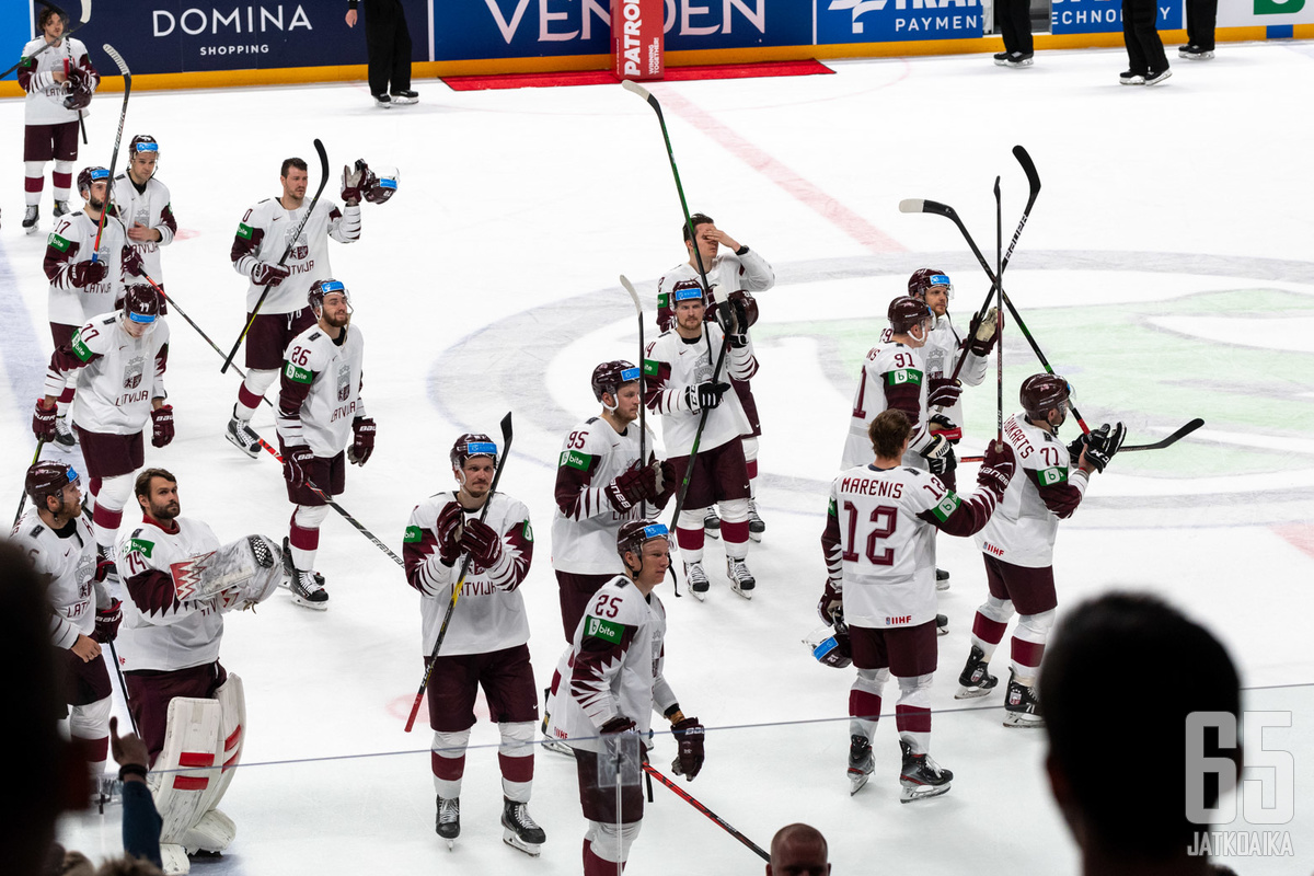 Latvia mitteli viime keväänä kotiyleisönsä edessä MM-jäillä.