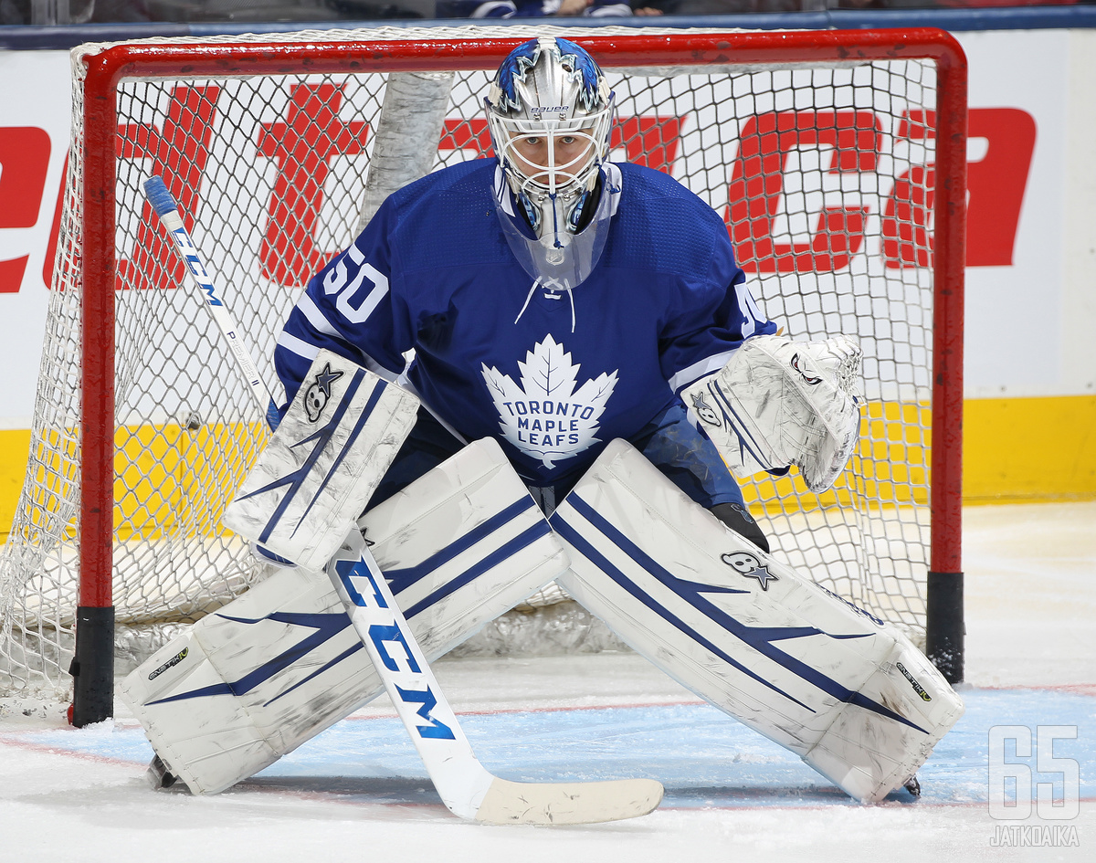 TORONTO, ON - JANUARY 12:  Kasimir Kaskisuo #50 of the Toronto Maple Leafs warms up prior to action against the Boston Bruins in an NHL game at Scotiabank Arena on January 12, 2019 in Toronto, Ontario, Canada. The Bruins defeated the Maple Leafs 3-2. (Pho
