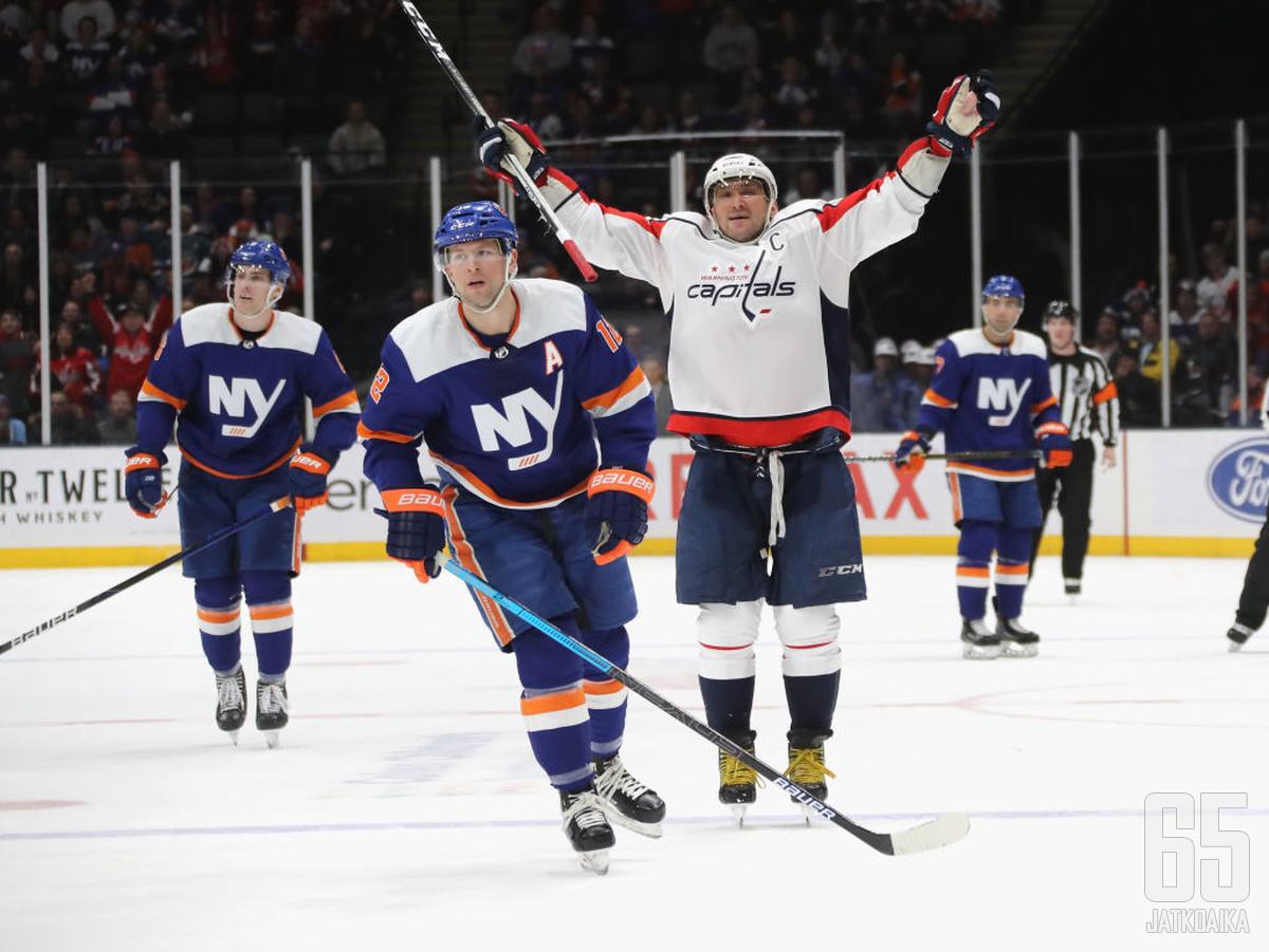 Ovetškinin tulikuuma viikko huipentui tähän tuuletukseen New York Islandersia vastaan.