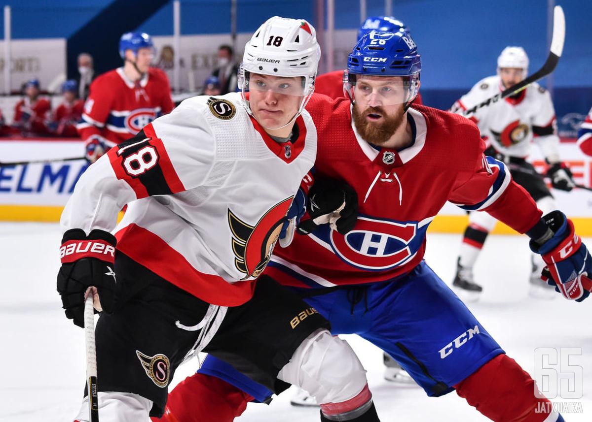 Tim Stützle on Senatorsin uuden tulemisen tärkeimpiä tekijöitä. Jeff Petryn taakka puolestaan kasvaa Canadiensin takalinjoilla.