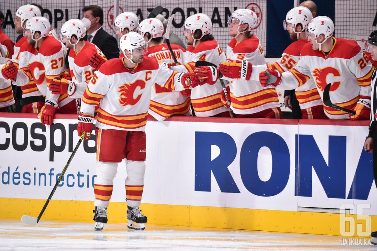 Mark Giordano ratkaisi Flamesille voiton Canadiensista ja nousi tilastoissa Al MacInnisin ohi.