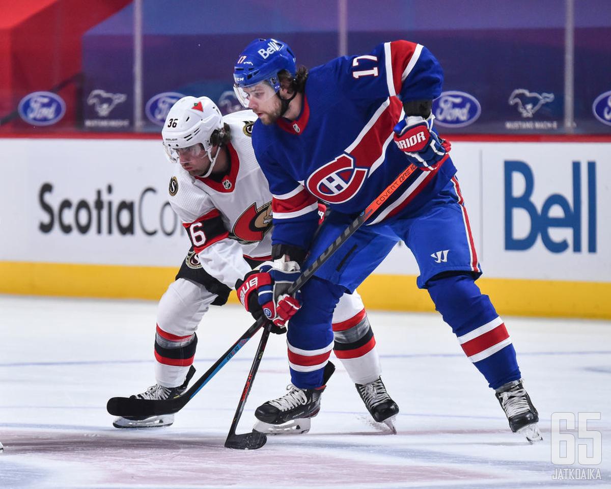 Josh Anderson syötti Ottawa Senatorsille katkeraa kalkkia.