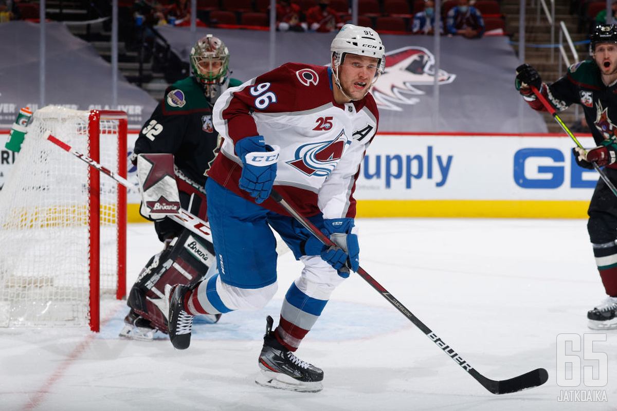 Mikko Rantanen takoi maaliskuussa eniten tehopisteitä (25) koko NHL:stä.