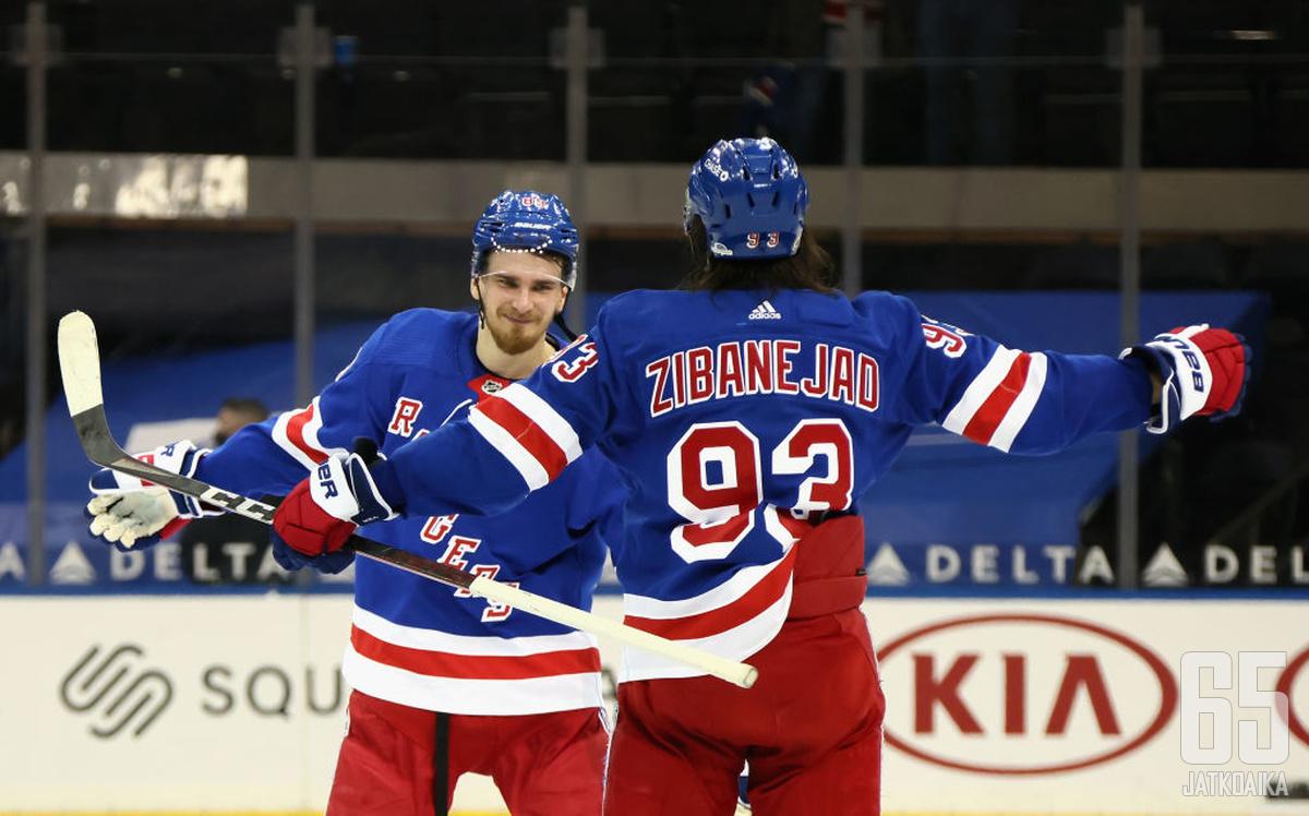 Terve vaan ja onnea! Pavel Butšnevitšista tuli ensimmäinen Rangers-pelaaja, joka on onnistunut hattutempun teossa syntymäpäivänään. Mika Zibanejad onnittelee.