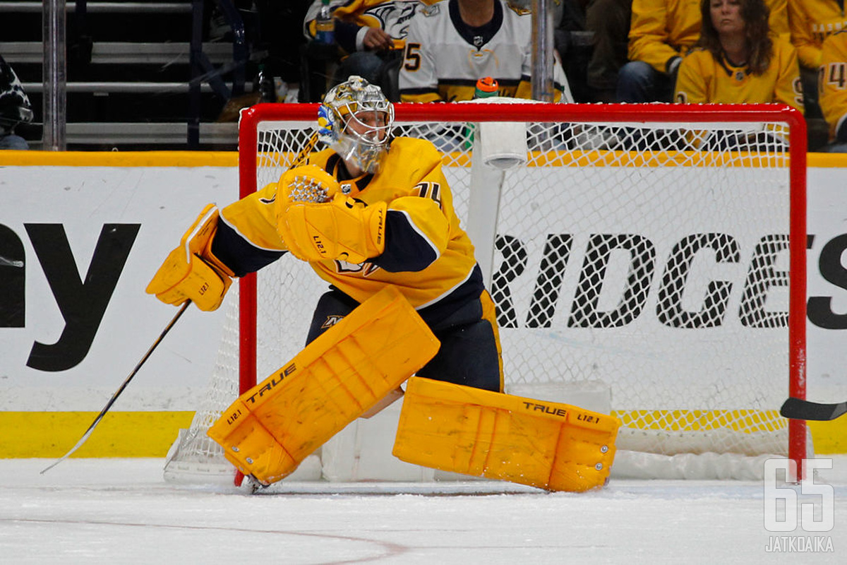 Juuse Saros on tällä hetkellä ainoa kiistaton suomalainen NHL-ykkösmaalivahti.