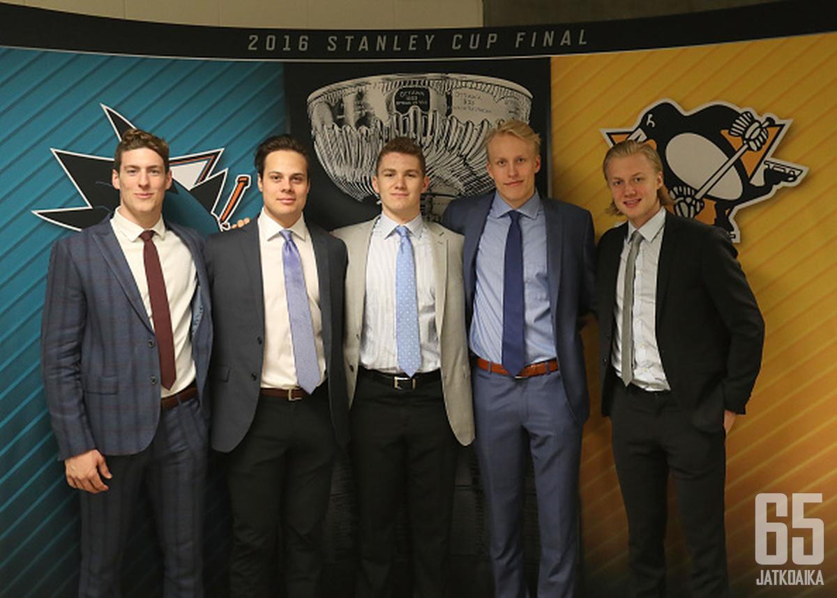 Pierre-Luc Dubois, Auston Matthews, Matthew Tkachuk, Patrik Laine ja Alexander Nylander kuuluvat NHL:n varaustilaisuuden kuumimpiin nimiin.