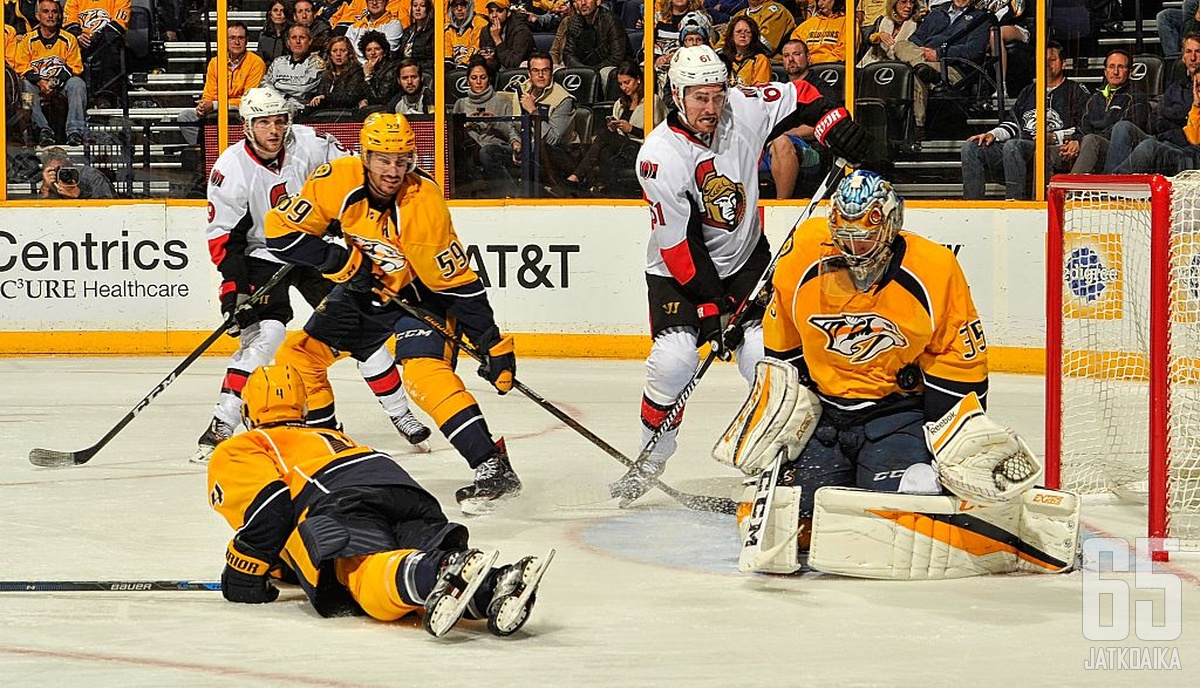 Rinne torjui marraskuussa Predatorsille yhdeksän voittoa.