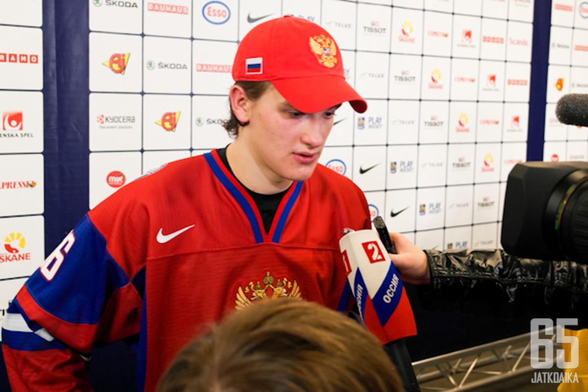 Nikita Zadorov oli pettynyt Ruotsi-tappion jälkeen.