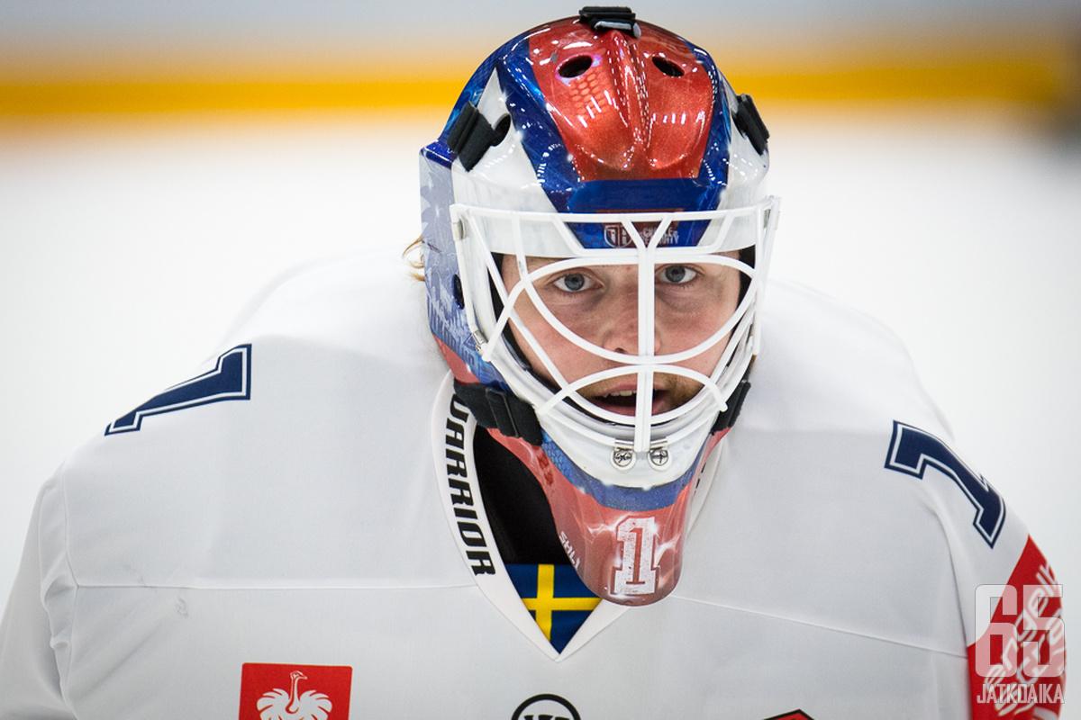 Ruotsalaisjoukkueen veräjänvartija Marcus Högberg pelasi nollapelin