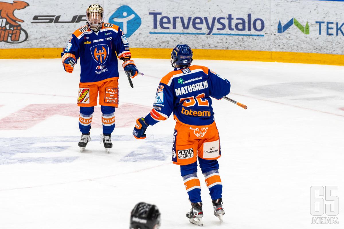 Maksim Matushkin viimeisteli voittomaalin Kristian Kuuselan hyvästä syötöstä.