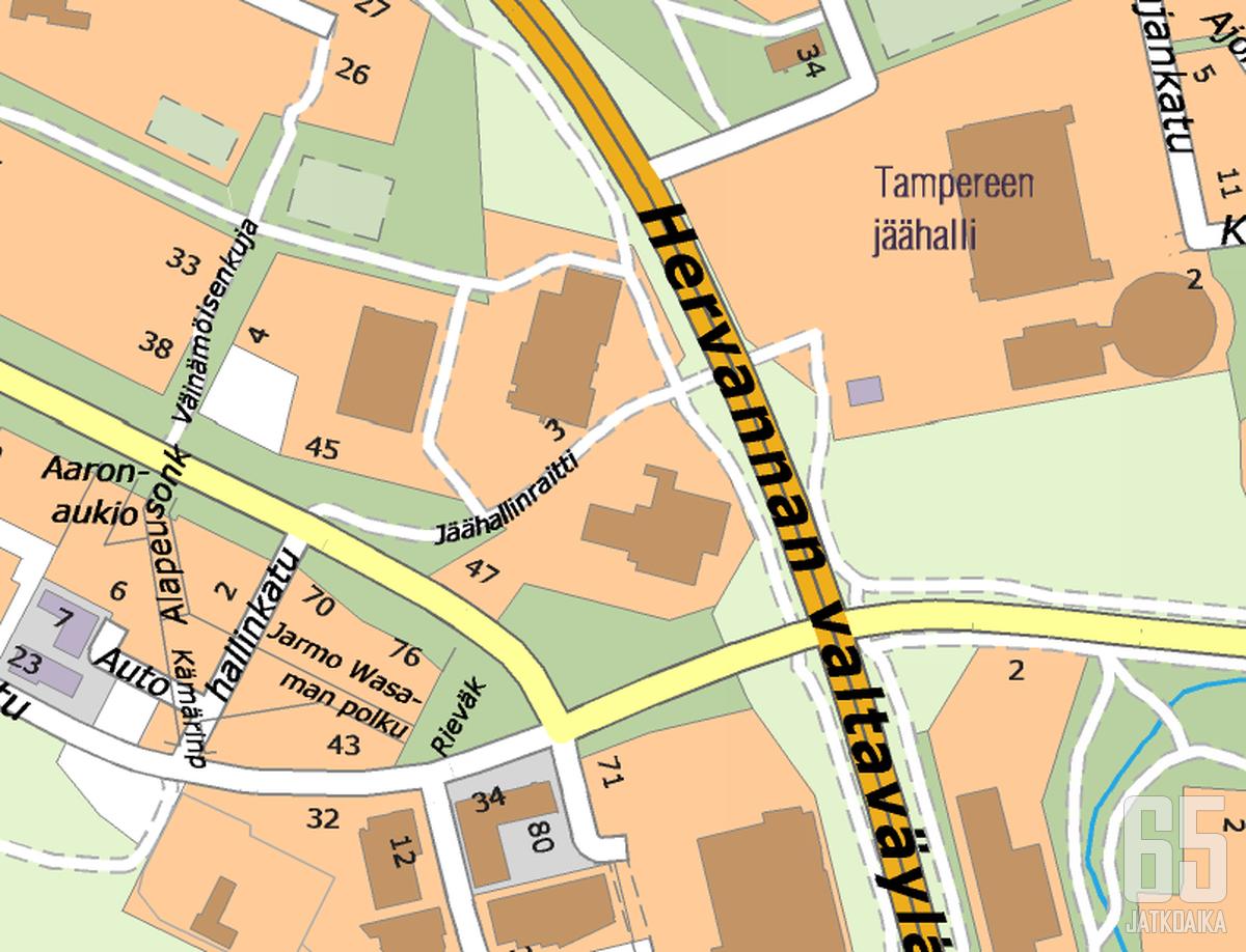 Jarmo Wasaman polku (vas. alh.) sijaitsee lähellä paikkaa, jossa puolustaja menehtyi auto-onnettomuudessa.