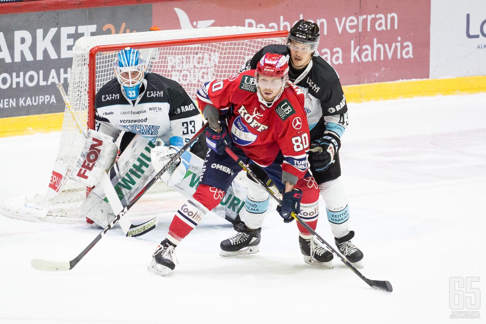 Lahden Pelicansin Tomi Karhunen (33) ottelussa HIFK - Pelicans, 04/10/2019, Helsingin Jäähalli, Helsinki, Suomi. Photo: Joonas Kämäräinen