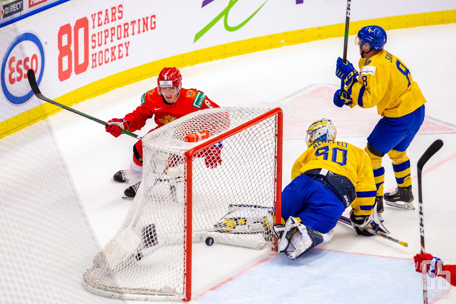 Ruotsi - Venäjä, välierä, Nuorten MM-kisat 4.1.2020, Ostravar Aréna, Ostrava. (Kuva: Jari Mäki-Kuutti)