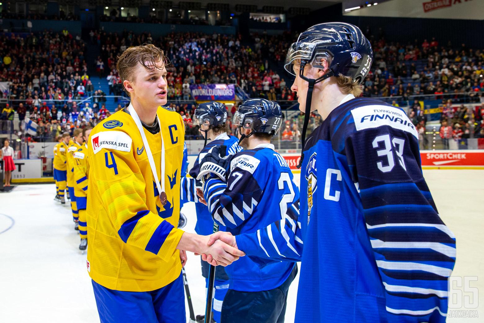 Ruotsi - Suomi, pronssiottelu, Nuorten MM-kisat 5.1.2020, Ostravar Aréna, Ostrava. (Kuva: Jari Mäki-Kuutti)