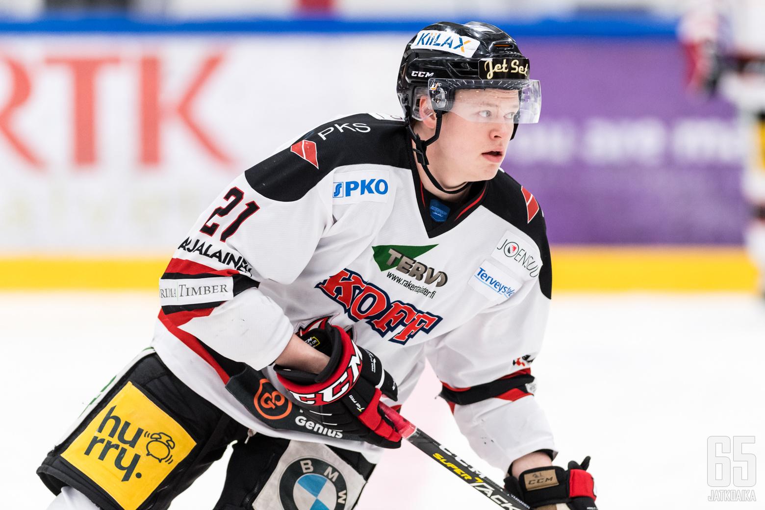 Jokipoikien Miro Väänänen (21) Mestis-ottelussa K-Vantaa - Jokipojat, Trio Areenalla, 15. tammikuuta 2020.