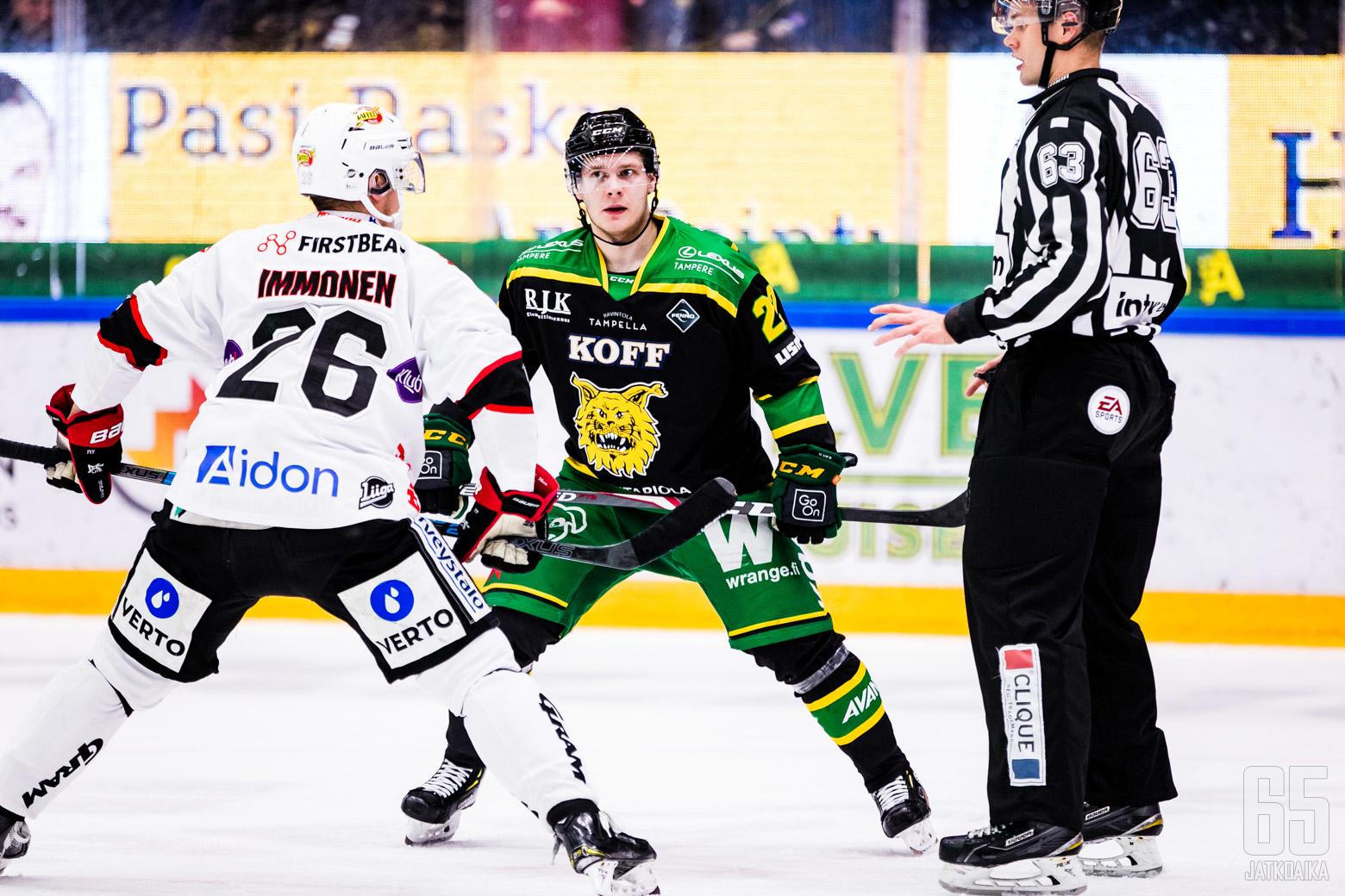 Liigan runkosarjan ottelussa Ilves - JYP, Hakametsän jäähallissa Tampereella 20.11.2019