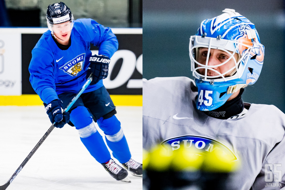 Arttu Ilomäki ja Jussi Olkinuora MM-joukkueen harjoituksissa Košicessa.