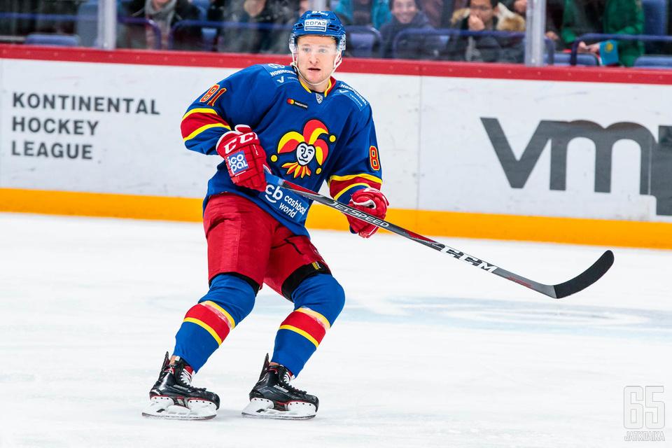 Joona Monto pelasi ensimmäisen KHL-ottelunsa viime perjantaina.