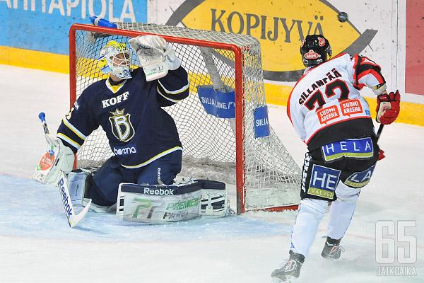 Ensi kaudella Ässäpelaajat koettavat vaihteeksi puolustaa Juuso Riksmanin maalia.