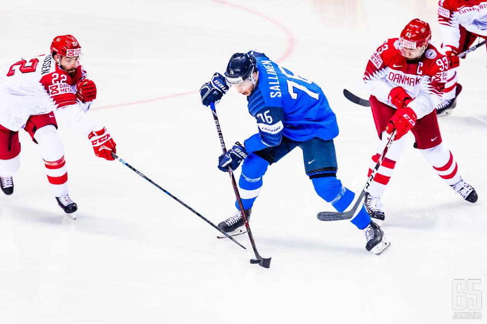 Jere Sallinen oli vauhdissa Tanskaa vastaan.