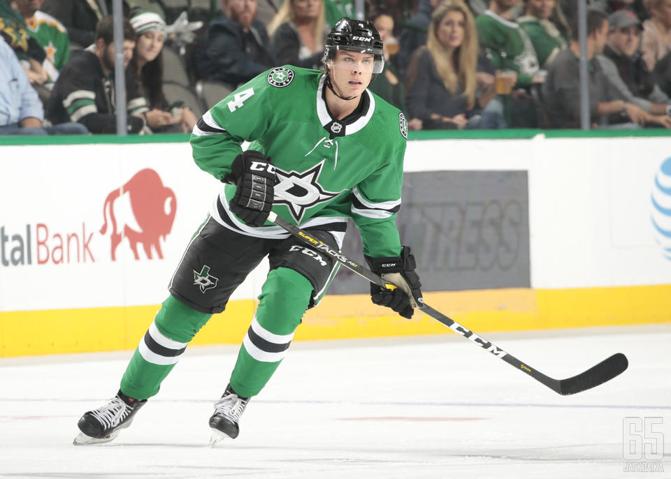 DALLAS, TX - OCTOBER 19: Miro Heiskanen #4 of the Dallas Stars skates against the Minnesota Wild at the American Airlines Center on October 19, 2018 in Dallas, Texas. (Photo by Glenn James/NHLI via Getty Images)