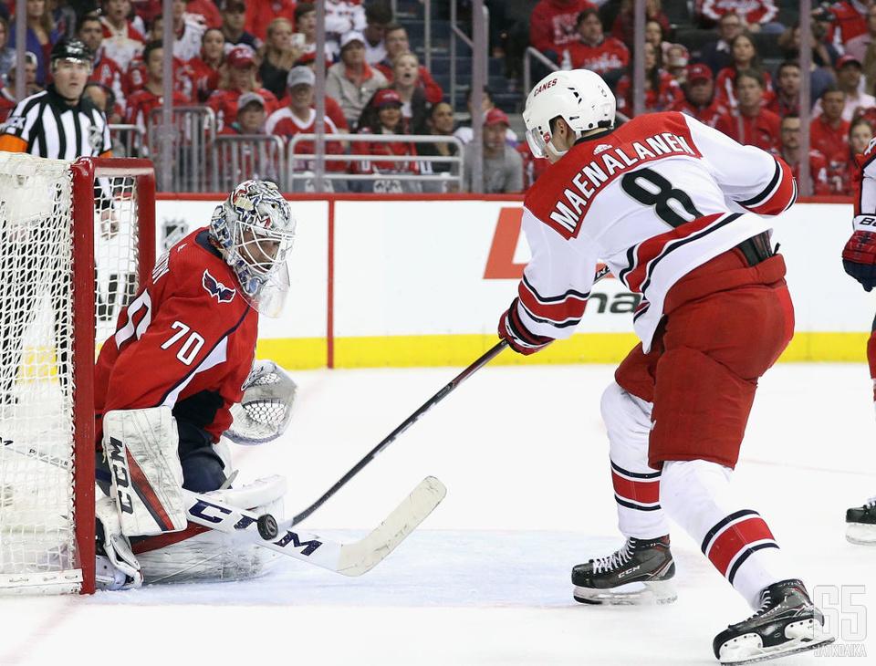 Mäenalanen pelasi viime kaudesta noin puolet NHL:ssä Carolina Hurricanesissa.