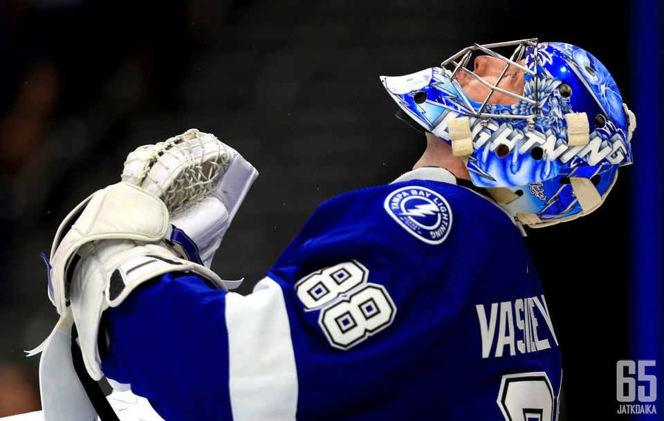 TAMPA, FLORIDA - OCTOBER 03: Andrei Vasilevskiy #88 of the Tampa Bay Lightning looks on during the home opener against the Florida Panthers at Amalie Arena on October 03, 2019 in Tampa, Florida. (Photo by Mike Ehrmann/Getty Images)