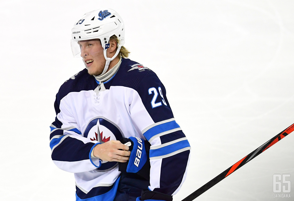 NEW YORK, NEW YORK - OCTOBER 03: Patrik Laine #29 of the Winnipeg Jets reacts during their game against the New York Rangers at Madison Square Garden on October 03, 2019 in New York City. (Photo by Emilee Chinn/Getty Images)