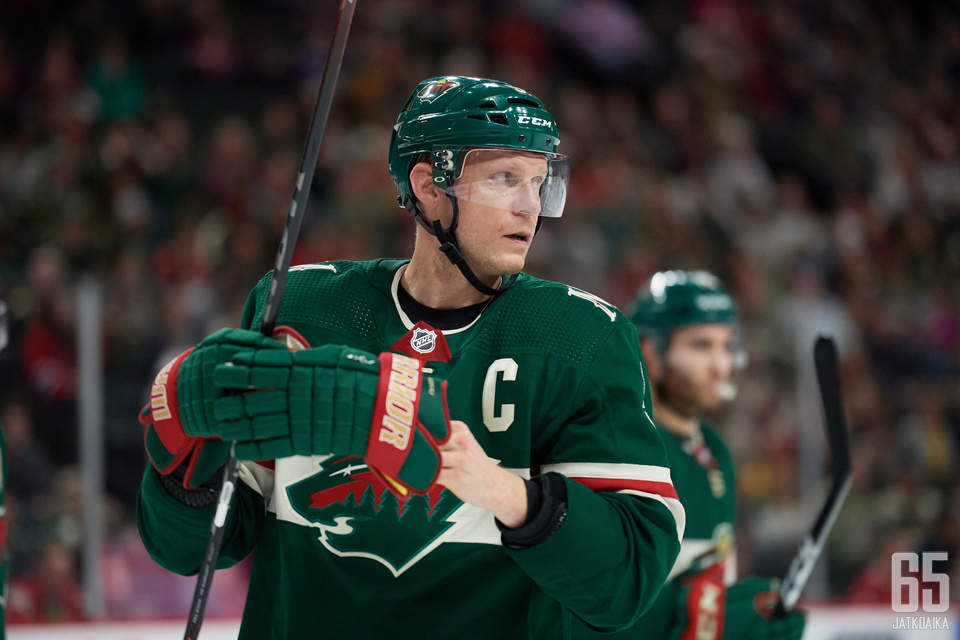 ST PAUL, MINNESOTA - OCTOBER 20: Mikko Koivu #9 of the Minnesota Wild looks on during the game against the Montreal Canadiens at Xcel Energy Center on October 20, 2019 in St Paul, Minnesota. The Wild defeated the Canadiens 4-3. (Photo by Hannah Foslien/Ge