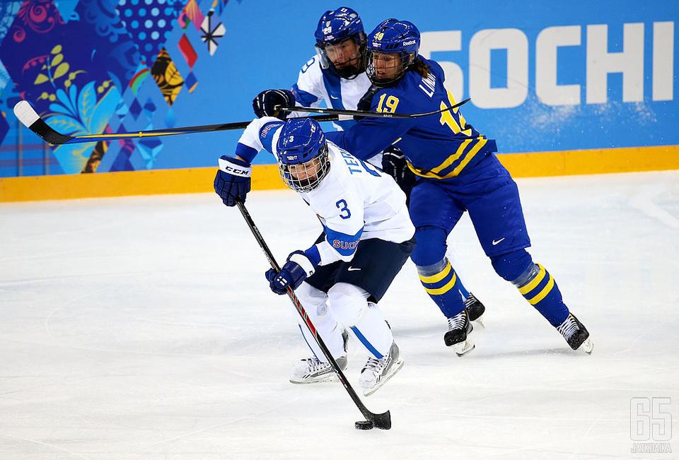 Emma Terho (nro 3) pelasi urallaan yhteensä viidet olympialaiset