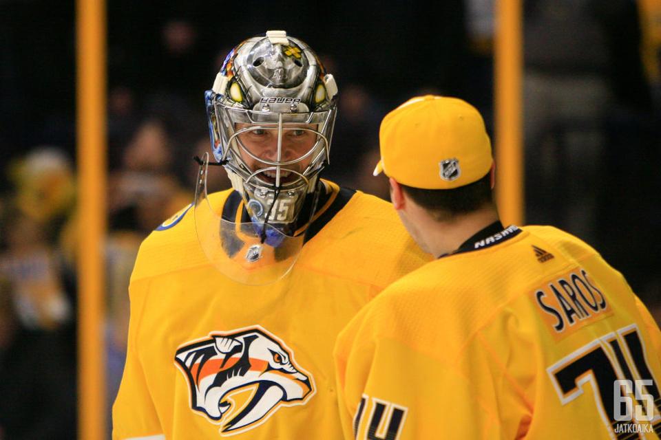 Pekka Rinne on kantanut Nashville Predatorsin ykkösmaalivahdin roolia jo vuosia. Juuse Saros näyttäisi olevan valmis manttelinperijä.