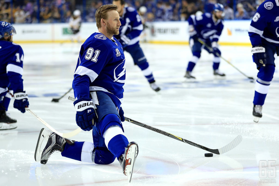 TAMPA, FL - MAY 06:  Steven Stamkos #91 of the Tampa Bay Lightning warms up during Game Five of the Eastern Conference Second Round against the Boston Bruins during the 2018 NHL Stanley Cup Playoffs at Amalie Arena on May 6, 2018 in Tampa, Florida.  (Phot