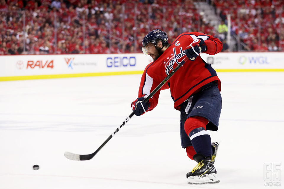 WASHINGTON, DC - MAY 21:  Alex Ovechkin #8 of the Washington Capitals skates against the Tampa Bay Lightning in Game Six of the Eastern Conference Finals during the 2018 NHL Stanley Cup Playoffs at Capital One Arena on May 21, 2018 in Washington, DC.  (Ph