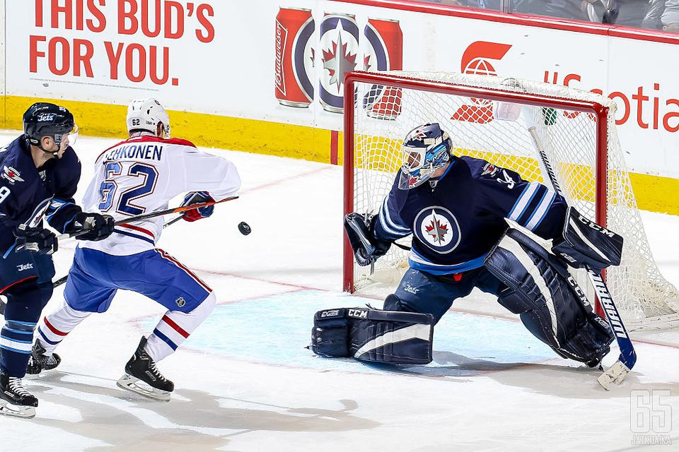 Tammikuussa Artturi Lehkonen takoi Patrik Laineetonta Winnipeg Jetsiä vastaan tehot 2+1.