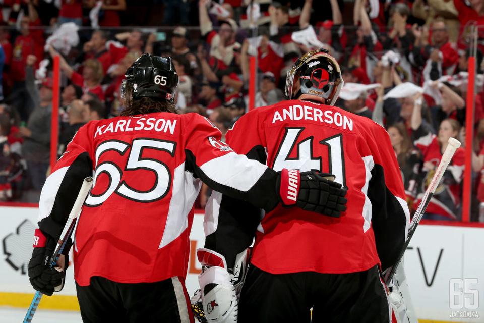 Erik Karlsson ja Craig Anderson ovat olleet joukkueensa suurimmat sankarit pudotuspeleissä. Samaa sankaruutta joukkue tarvitsee heiltä jälleen.