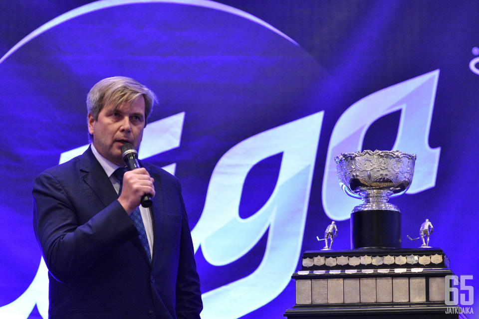 SM-Liiga Oy:n hallituksen puheenjohtaja Heikki Hiltunen Liigan avausinfossa 2019