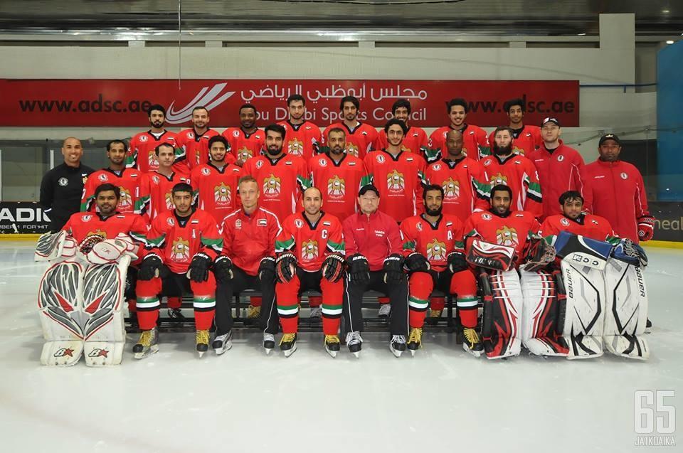 UAE:n virallinen joukkuekuva ennen lähtöä 2014 III-divisioonan MM-kisoihin.