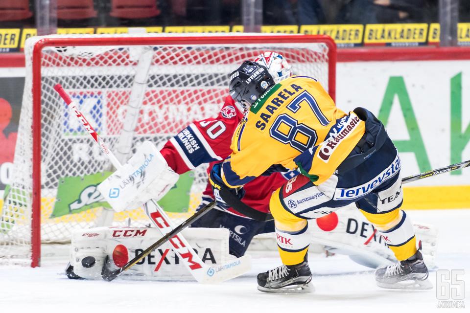 Aleksi Saarela Lukon paidassa Liiga-ottelussa.