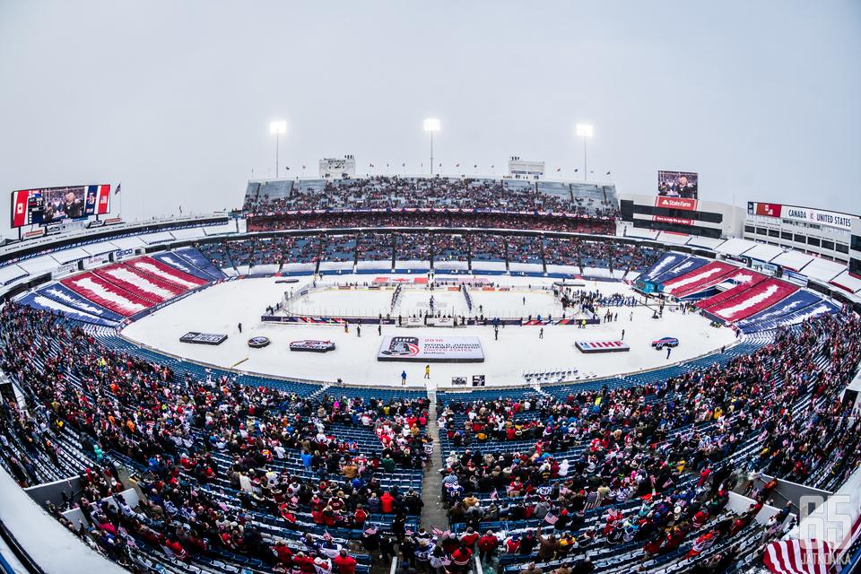 nuorten MM-kisojen ottelussa Kanada - USA, New Era Fieldillä, Buffalossa, 29. joulukuuta 2017.
