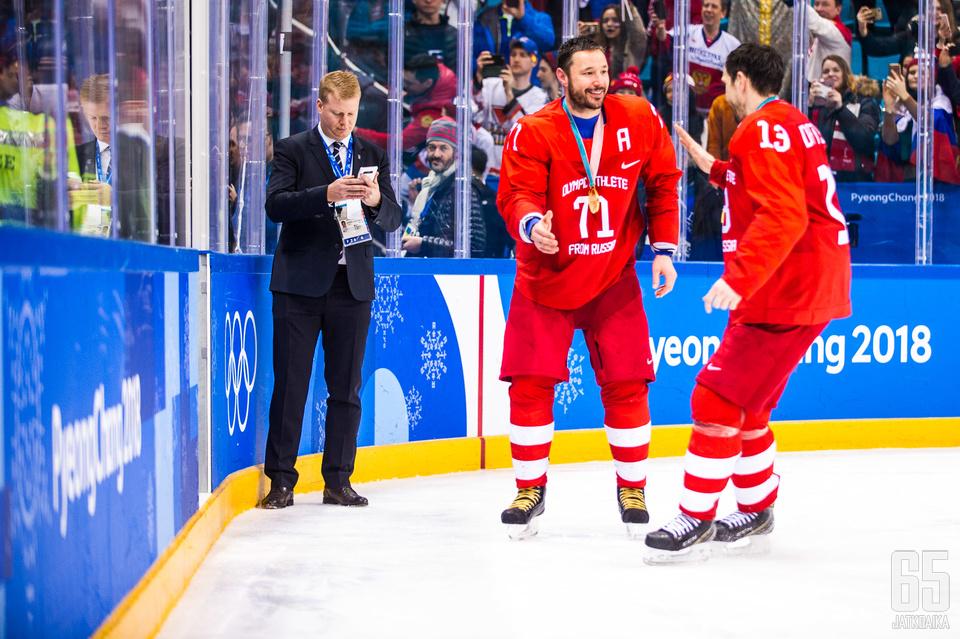 Kokeneet hyökkääjät Ilja Kovaltšuk ja Pavel Datsjuk voittivat Pyeonchangissa uransa ensimmäisen olympiakultamitalin.